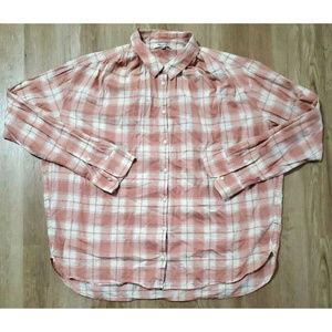 Madewell Womens Danville Pink Plaid Shirt Size L